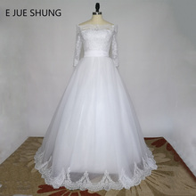 E JUE SHUNG White Vintage Lace Wedding Dresses 2019 Ball Gown Off the Shoulder Half Sleeves Wedding Gowns gelinlik