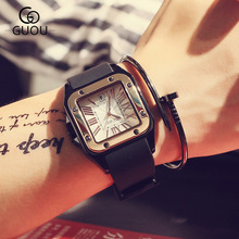 100 New Arrival GUOU Square Dial 50m Waterproof Soft Rubber Band Quartz Wristwatches Wrist Watch for
