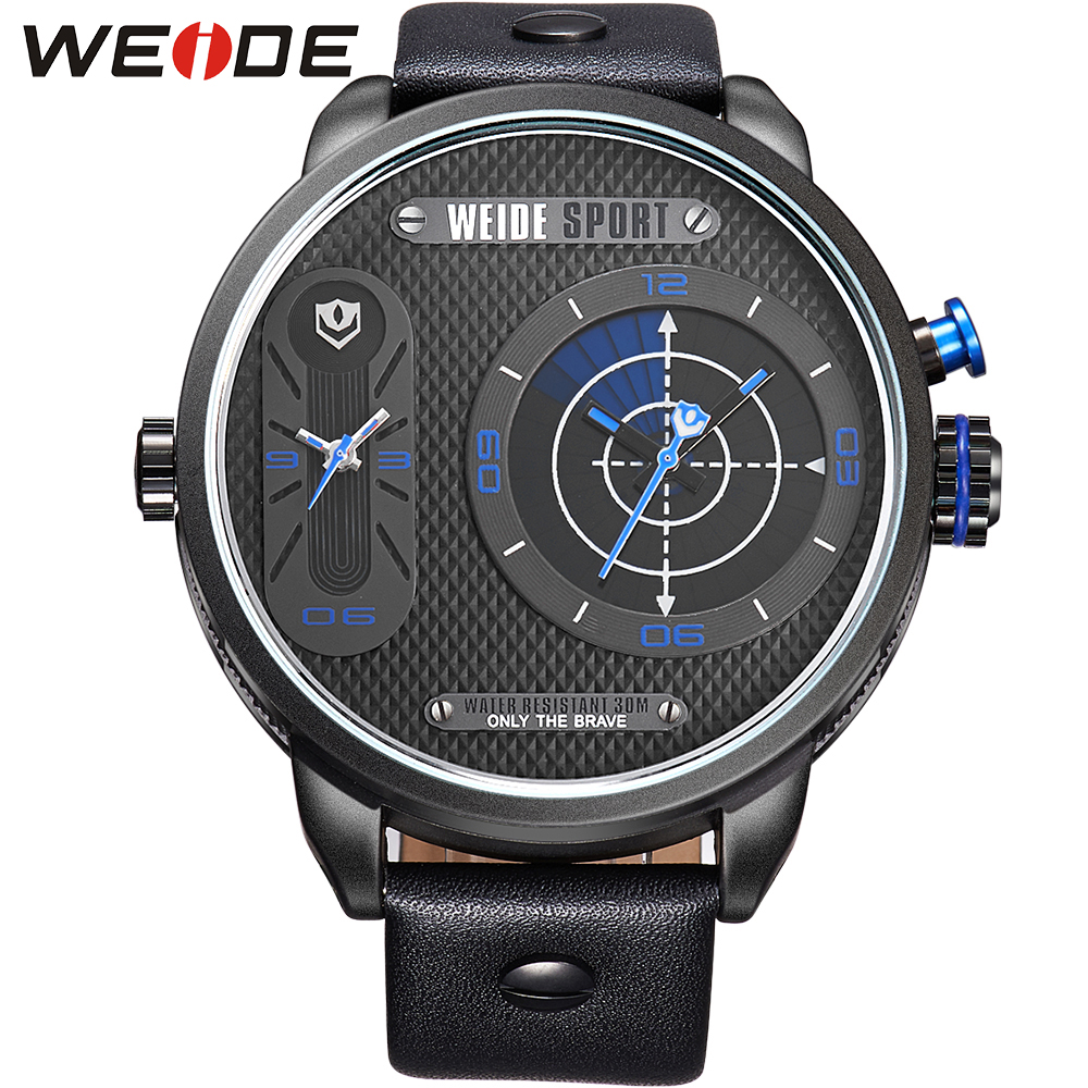 ФОТО WEIDE Genuine Leather Watch Men Military Brand New Big Dial Analog Quartz Dual Time Zones Display 3ATM Waterproof Casual Watches