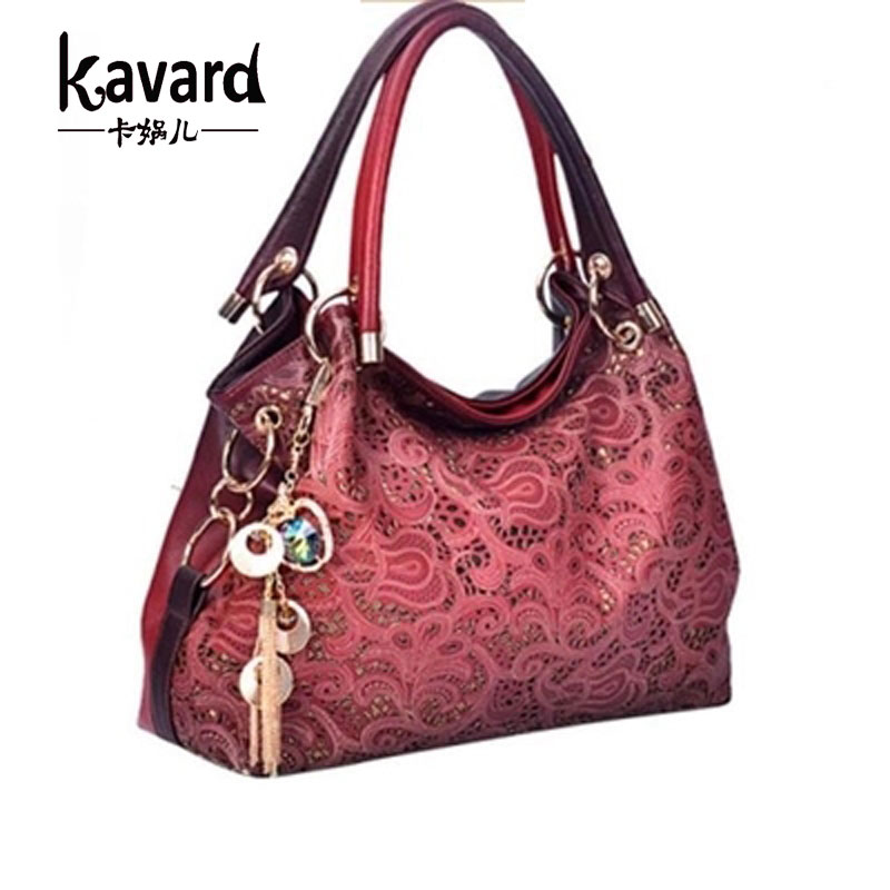 Kavard Spanish floral print women bag hollow out bag handbag women famous brand handbag shoulder bags