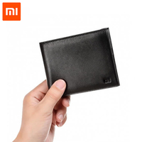 100 Original Smart Xiaomi Wallet Genuine Leather Black Purse Man Stylish Business Cowhide Double Fold Standard