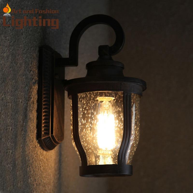 Modern Outdoor Lighting Design: Antique Waterdrops Waterproof Design Light Shade Wall