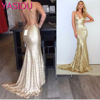 Real Picture Champagne Gold Mermaid Prom Dress 2017 Sparkle Long Glitter Prom Dresses Open Back Sexy