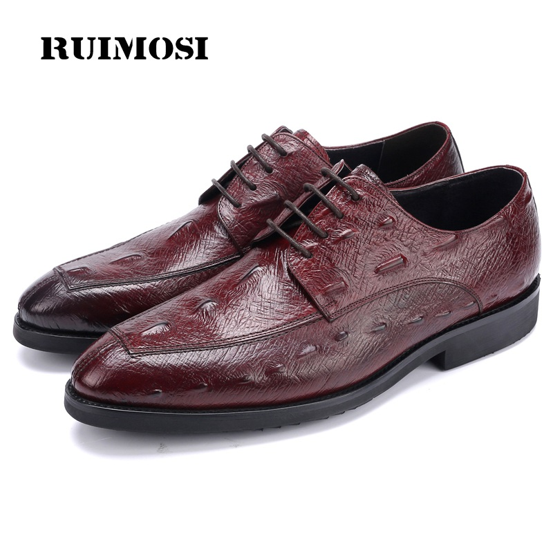 RUIMOSI New Luxury Brand Man Formal Dress Shoes Genuine Leather Derby Oxfords Round Toe Men's Wedding Bridal Party Flats NH16