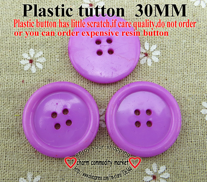 25PCS 30MM purple Dyed Plastic buttons coat boots sewing clothes accessories P-094-11