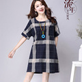 Summer New Cotton And Linen Grid Women Dresses Loose Plus Size Short Sleeve Woman Dress Free Shipping Pocket One-Piece Dress
