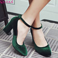QUTAA 2017 Women Pumps Ladies Shoes Square High Heel Flock Black Ankle Strap Pointed Toe Woman Wedding Shoes Size 34-43