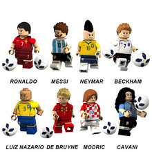 2018 Football Pogba Ronaldo Messi Beckham Neymar Modric Cavani Bruyne Models Legoingly Figures Building Blocks Bricks Toys Kids(China)