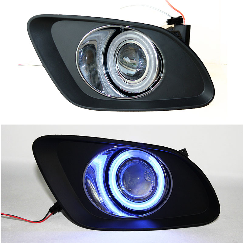 Osmrk LED DRL daytime running light COB angel eye + E13 Projector lens + fog lamp cover for Geely Emgrand EC7-RV