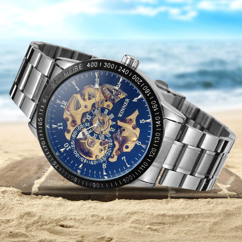 WINNER Men Automatic Mechanical Watch Stainless Steel Watchband Wristwatch Skeleton Dial with Gift Box
