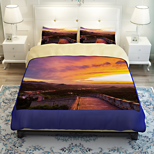 China Landscape Scenery Great Wall 3D Bedding Set Quilt Cover Bed Sheets  Twin Queen King Size