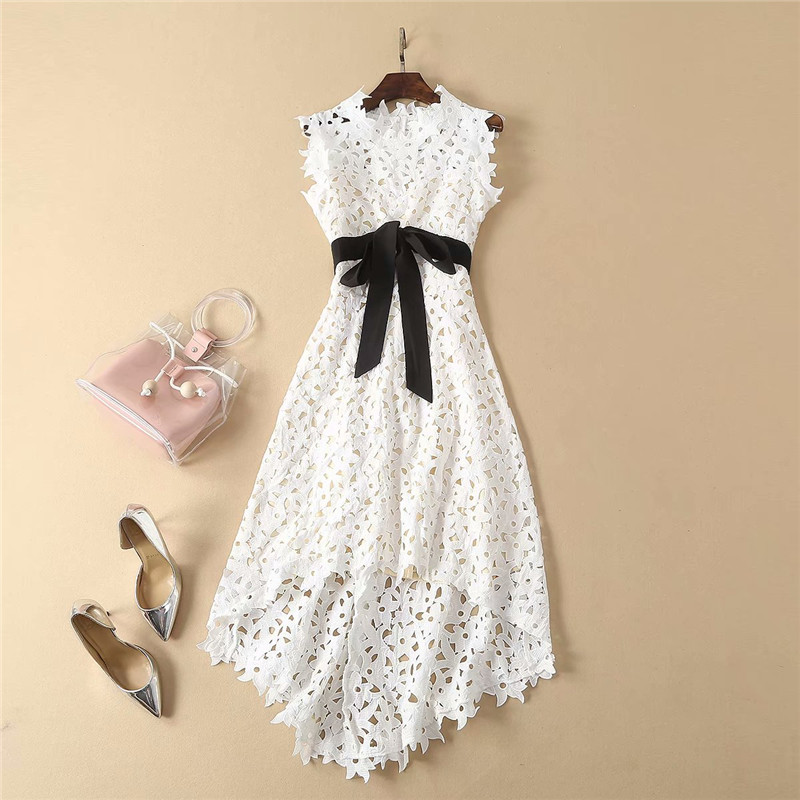 High Quality Runway Designer Spring Summer Dress Women 2019 Fashion Sleeveless Hollow Out Bowknot Midi High Low Lace Dress Party