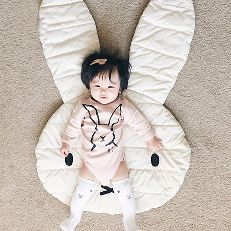 Cute Rabbit Pattern Baby Floor Play Mat Newborn Kid Baby Crawling Blankets Modern Cotton Carpet Blanket For Kids Room Decoration