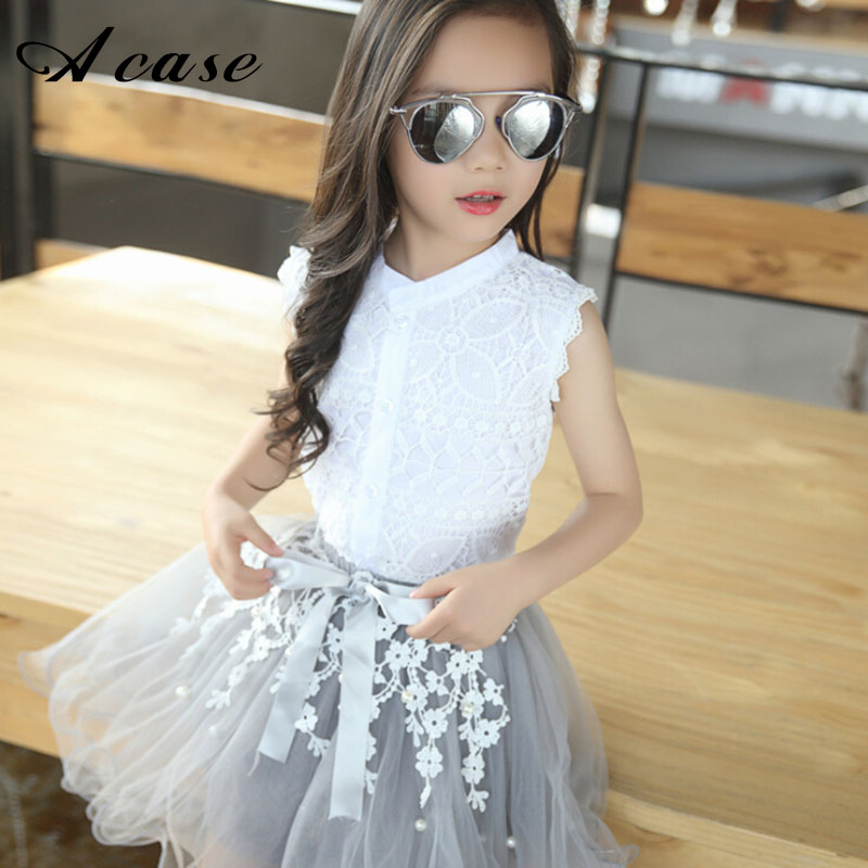 2018 Girls Clothing Sets Summer Lace Fashion Style Baby Clothes For Girl T-Shirt + Skirts 2Pcs Kids Flower Cupcake Cute Skirt newborn toddler girls summer t shirt skirt clothing set kids baby girl denim tops shirt tutu skirts party 3pcs outfits set