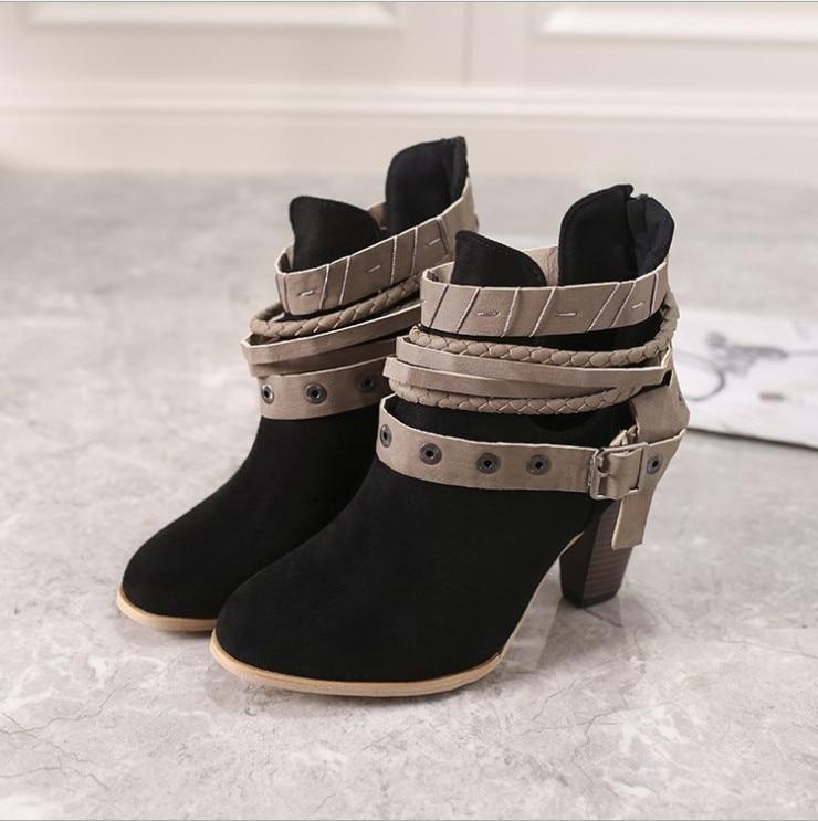 Chelsea Grande Noir Mode Boucle gris Rivet Bottines Carré Slip Taille Pointu Solide Haute Bout D'hiver rouge on De Chaussures Troupeau Femmes Talon vfgYb7y6