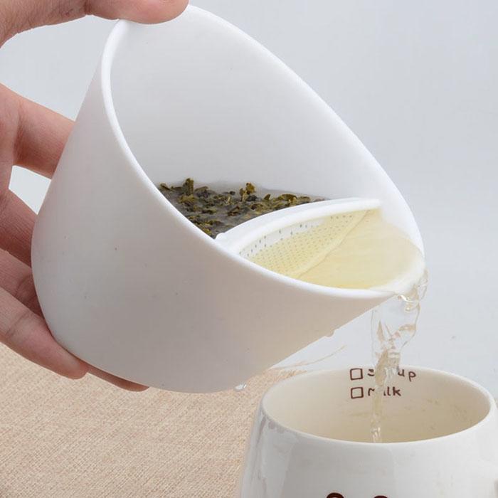 Tea Cup Strainer Steeper Tea Filter Unique Tilting Infuser ...