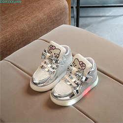 2570aefeb Новые детские Повседневное освещенные Обувь для девочек светящиеся  Спортивная обувь детей рисунок «Hello Kitty»