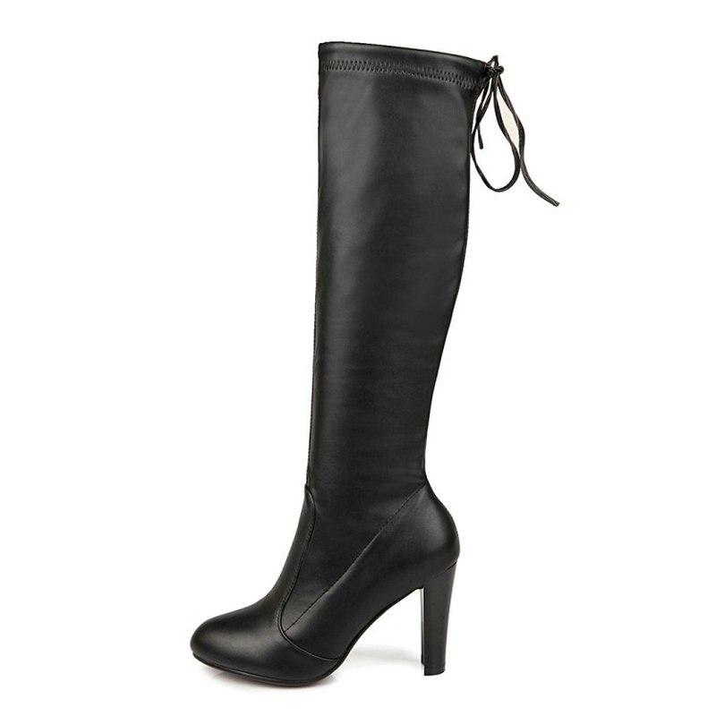 Femmes cuisse haute sur le genou faux suède large mollet tall stretch lacets bas chunky talon plat lacets bottes fV6choCRS8