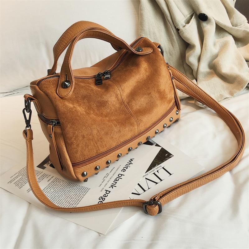 Vintage Rivet women Handbag Matte leather Boston Big Tote bag Winter new Shoulder Bags for Women Messenger Bag Blosa Sac (21)