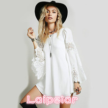 2018 spring and summer fashion casual wear, pure color lace embroidered round collar long sleeved dress Laipelar