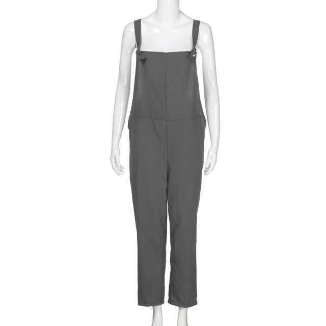 New Trendy Women Loose Jumpsuit Dungarees Solid Colors 5  Long Pockets Rompers Jumpsuits Pants Trousers Pantalon femme @30 4