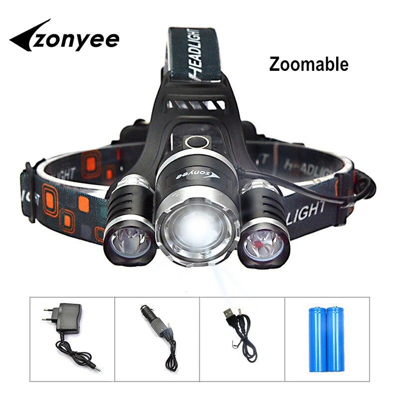Zonyee Led-taschenlampe Stirn Scheinwerfer Wiederaufladbare Taschenlampe 10000 Lumen Scheinwerfer Zoom taschenlampe jagd 3 XML-T6 LED