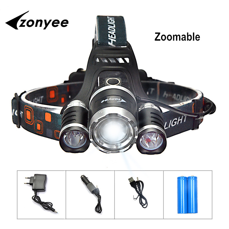 Zoomable Dahi Headlamp Isi Ulang Dipimpin Senter 10000 Lumen Headlight Zoom Berburu Kepala Cahaya lampu Torch 3 XML-T6