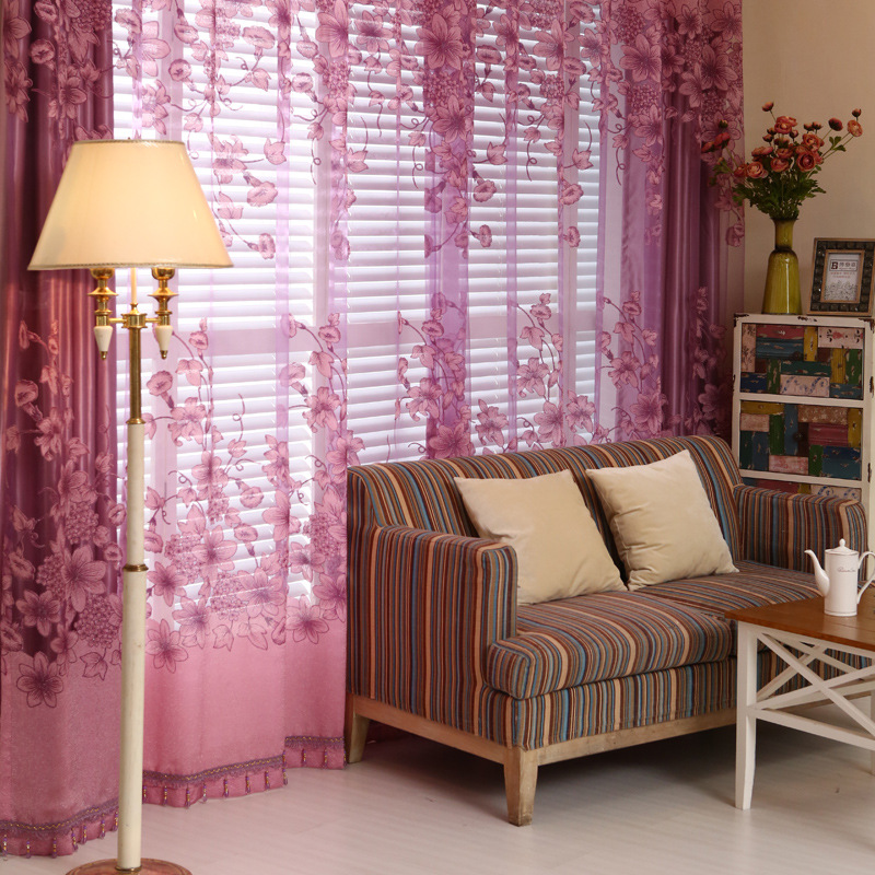 Flying Dancing 2 Layers Jacquard Curtains Floral Print Voile ...
