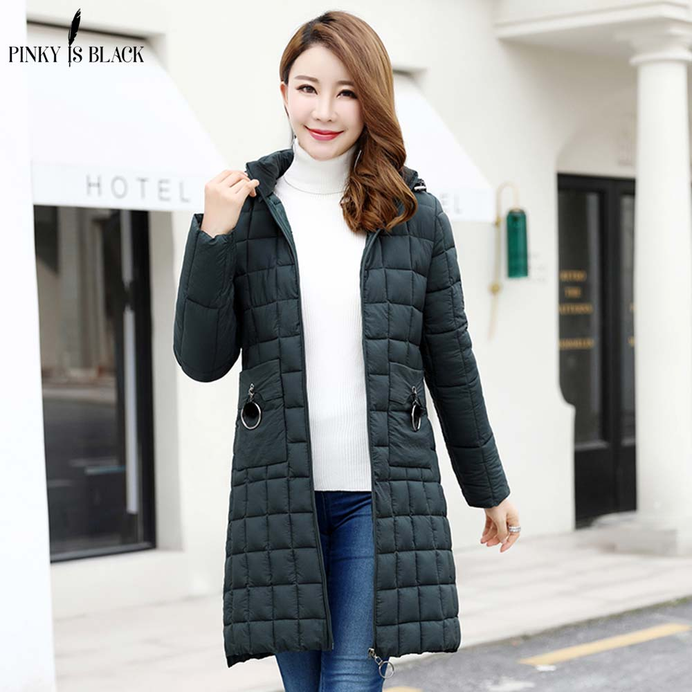 PinkyIsBlack Hooded Winter Jacket Women 39 s Coat Plus Size 4XL Padded Long Parkas Outwear Winter Parka For Female Jaquata Feminina in Parkas from Women 39 s Clothing