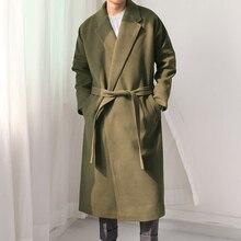 Новый 2016 моды для мужчин шерстяное пальто зимой Молодой хан издание легко отдыха долго пальто