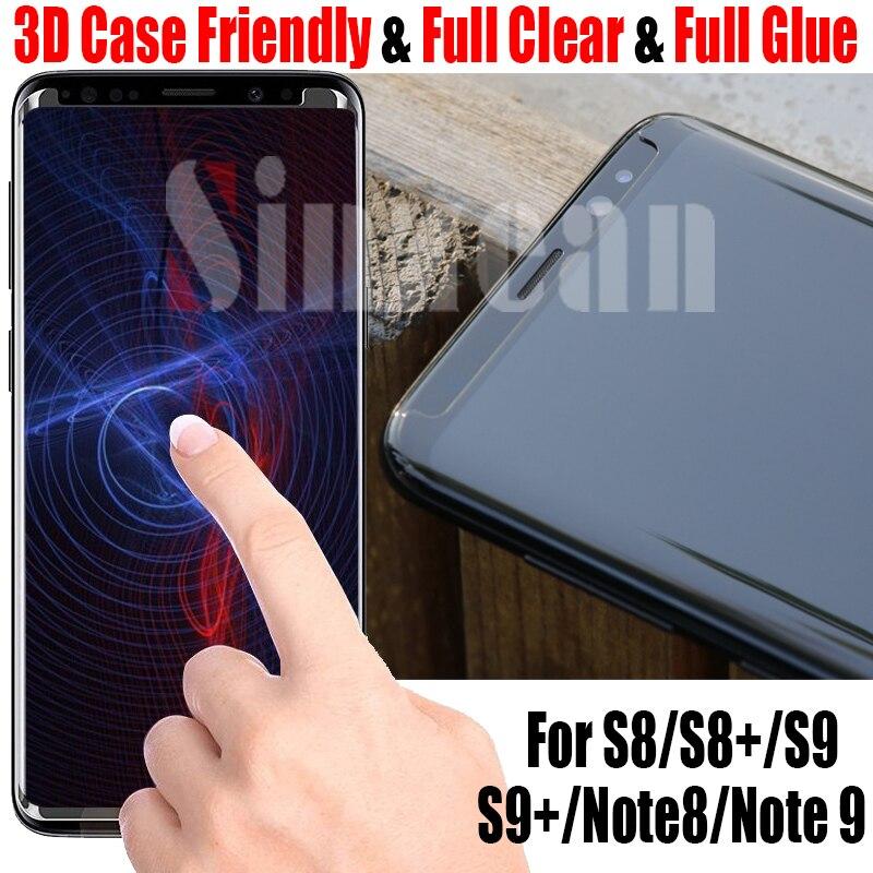 Sinzean 50pcs 3D Curved full clear Case friendly For Samsung Galaxy S9 S9 Plus S8 Plus