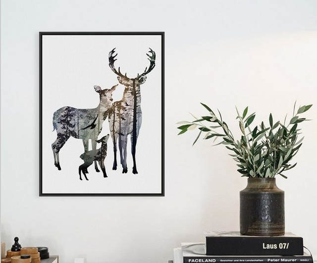 Minimalist Vintage Retro Deer Family Hipster Living Room Abstract Wall Art Silhouettes Animal Poster Prints Canvas