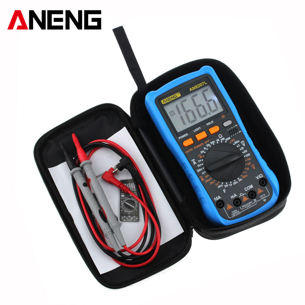 ANENG Current Multi Meter AN8207L Digital Multimeter 2000 Counts Handheld Multimeter LCD Display AC/DC Current Testing free shipping multimeter 830l handheld digital universal table with multi meter multimeter