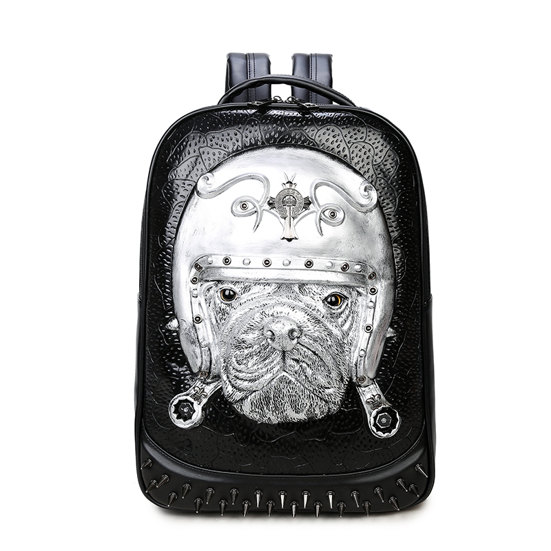 3D Leather Animal Men Backpack 2017 Punk Gothic Rivets Backpack Bag for Teenage Fashion Travel Laptop Bags Hot Sale