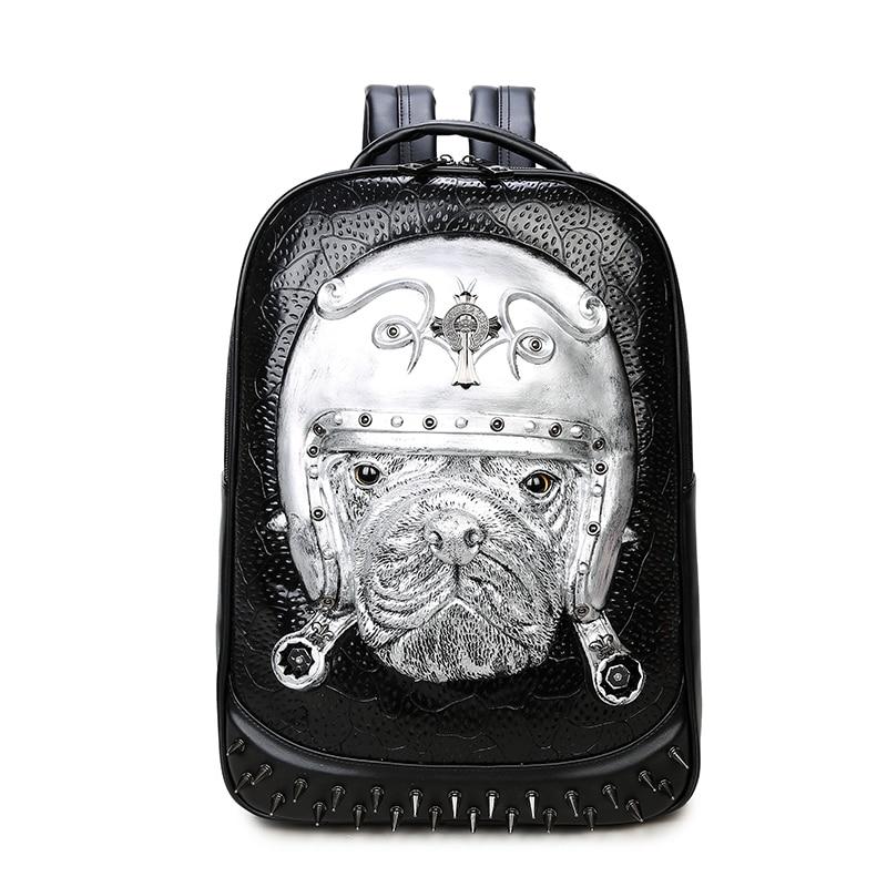 3D Leather Animal Men Backpack 2017 Punk Gothic Rivets Backpack Bag for Teenage Fashion Travel Laptop Bags Hot Sale etn bag good quality hot sale best seller men pu leather backpack male fashion travel backpack man casual travel bag laptop bag