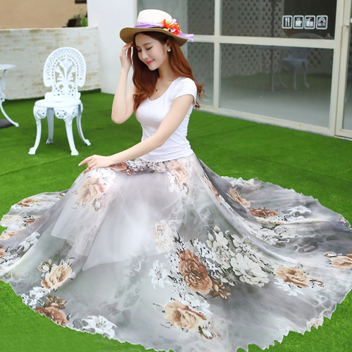 2542277e52372 2017 New Fashion Summer Women Long Chiffon Skirts Plus Size Sweet Lolita  Floral Skirts Women Beach Maxi Skirt with Feathers -in Skirts from Women's  Clothing ...