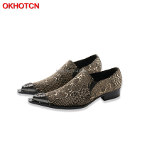 2018 New Genuine Leather Men Oxford Shoes Casual Business Men Pointed Shoes Brand Men Wedding Men Dress Boat Shoes Imitate Snake