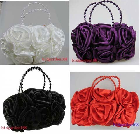 1pcs/lot Hot sale Noble Wedding Bag Bridal Satin Rose Clutch Handbag Party Outfit women's Accessories Mixed colors free shipping