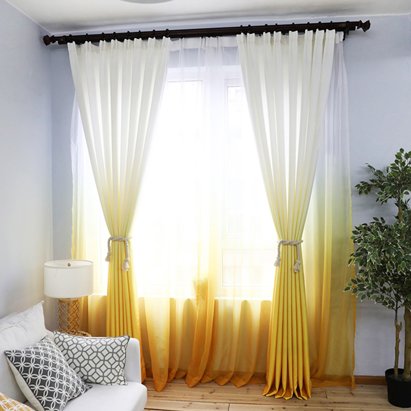 2019 New Arrival Curtains Orange-yellow Gradient Sheer Curtain Fabics Decorative Panel Thick For Living Room Bedroom Tulles For
