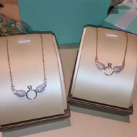 Designer Fashion 925 Sterling Silver Jewelry Platinum Plated 3A Cubic Zirconia Party Swan Necklace