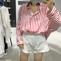College Wind Spring Loose Oversize Intage Basic Striped Long Sleeve Female Shirts
