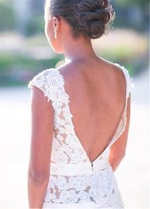 Image 4 - 繊細なチュール自然なウエストラインマーメイドウェディングドレスとレースのアップリケビーズシースルーブライダルドレス