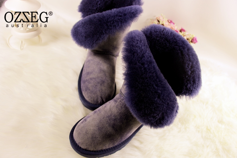 2018 New Arrival 100% Real Fur Classic Mujer Botas Waterproof Genuine Cowhide Leather Snow Boots Winter Shoes for Women