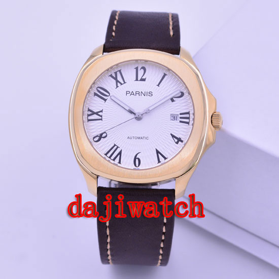 40mm parnis watch Rose gold case Navy blue/white dial automatic mechanical mens watch miyoa 821A PN-475 edwin watch navy