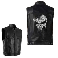 PU Vests Men Leather Skull Hip Hop Sleeveless Jackets Punk Rock Waistcoat Streetwear Outerwear Biker Motorcycle Locomotive Coats