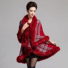 #2912 2016 Loose False fox fur Ponchos and capes Fashion Shawls and scarves Inverno feminino Knitting shawl Pashiminas for women