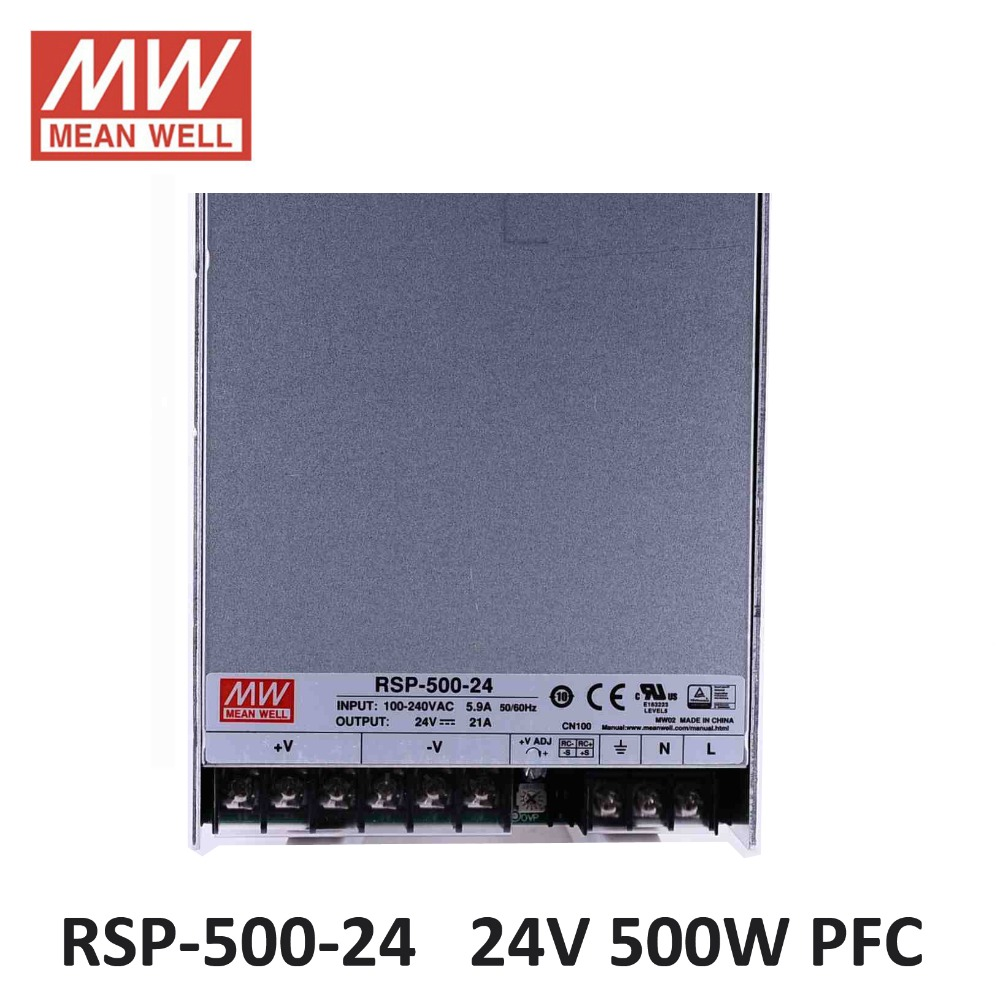 Meanwell Rsp 500 24 Pfc Laboratory Power Supply 24v 21a 500w 4a Switching Driver For Led Strip Ac 86 264v To Dc In From