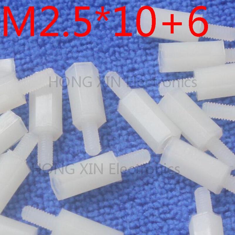 M2.5 * 10 + 6 1 pcs entretoise en nylon blanc Standard M2.5 mâle-femelle 10mm Kit d'écartement pièces de réparation de haute qualité