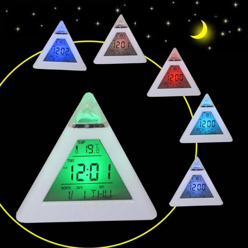 LED Alarm Clock Electronic Desk Clock Childrens luminous little alarm clocks Saat Triangle Despertador Despertador de Cabeceira