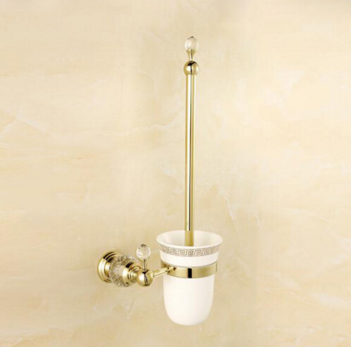 Wall Mounted Brass & Crystal Toilet Brush Holder+ Ceramic Cup + White Brush ,golden Bathroom accessories free postage gold plate toilet brush holder with ceramic cup wall mounted flower carved